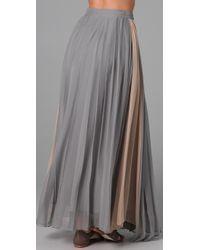 Porter Grey - Gray Pleated Long Skirt - Lyst
