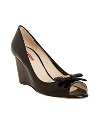 Prada | Sport Black Patent Leather Peep Toe Wedges | Lyst