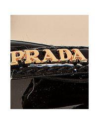 Prada - Sport Black Patent Leather Peep Toe Wedges - Lyst