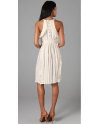 Tibi - Natural Halter Ruffle Dress - Lyst