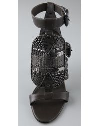 Ash - Brown Hype Sequin High Heel Sandals - Lyst