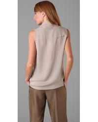 Parker - Gray Draped Front Top - Lyst