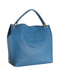 Prada | Blue Cobalt Leather Vitello Daino Logo Stamped Hobo | Lyst