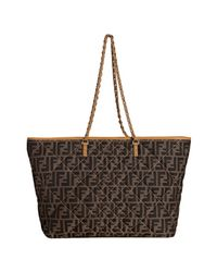 Fendi - Brown Tobacco Zucca Canvas Quilted Roll Chain Link Tote - Lyst