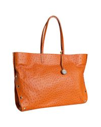 Furla | Orange Patchouli Ostrich Embossed Leather Chari Tote | Lyst