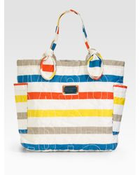 Marc By Marc Jacobs | Multicolor Pretty Nylon Medium Tate Stripe-print Tote | Lyst