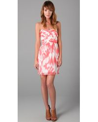 Shoshanna | Pink Ruched Bodice Dress | Lyst