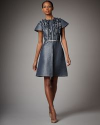 Valentino | Gray Denim Ruffle-front Dress | Lyst