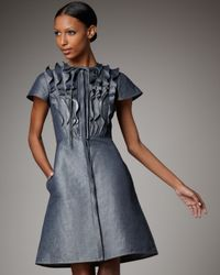 Valentino - Gray Denim Ruffle-front Dress - Lyst