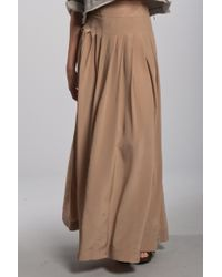 Lover | Natural Silk Maxi Skirt in Nude | Lyst