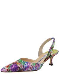 Manolo Blahnik | Multicolor Floral-print Satin Mid-heel Halter | Lyst