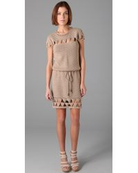 Mike Gonzalez | Natural Crochet Cap Sleeve Dress | Lyst