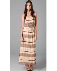 Alice + Olivia | Brown Blouson Maxi Dress | Lyst