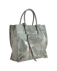 Balenciaga | Gray Light Blue Metallic Calfskin Milky Way Papier A5 Tote | Lyst