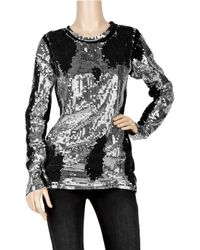 Balmain Metallic Distressed Sequin-embellished Cotton Top
