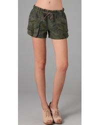 Free People | Green Patch Pocket Camo Shorts | Lyst