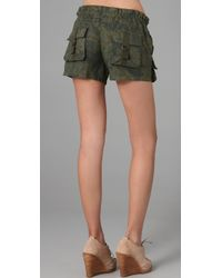 Free People - Green Patch Pocket Camo Shorts - Lyst