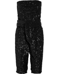 Halston | Black Sequin-embellished Strapless Jumpsuit | Lyst