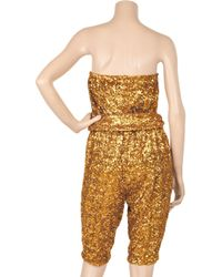 Halston   Metallic Sequin-embellished Strapless Jumpsuit   Lyst