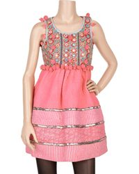 Manoush - Pink Tiziri Embellished Quilted Cotton Dress - Lyst