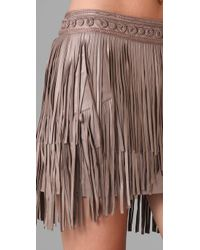 Matthew Williamson | Pink Fringed Leather Skirt | Lyst