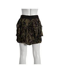 Nili Lotan | Green Camouflage Silk Ruffle Skirt | Lyst