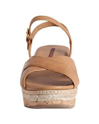Prada | Sport Natural Leather Ankle Strap Platform Sandals | Lyst