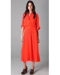 Tory Burch - Red Flowy Long Shirtdress - Lyst