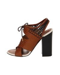 Proenza Schouler | Brown Lace-up Leather Slingback Sandals | Lyst