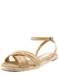 Stella McCartney | Natural Faux Leather Flat Sandals | Lyst