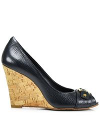 Tory Burch | Blue Carnell - Navy Leather Cork Peep Toe Wedge | Lyst