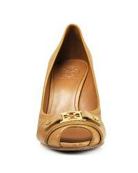 Tory Burch | Brown Carnell - Tan Leather Cork Peep Toe Wedge | Lyst