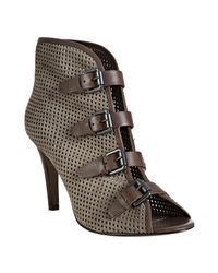 Ash | Gray Sparrow Perforated Suede Fiona Buckle Booties | Lyst