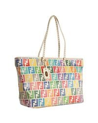 Fendi | White Rainbow Zucca Laminated Canvas Roll Tote | Lyst