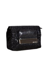 Jimmy Choo | Black Glitter Fabric Caro Convertible Clutch | Lyst