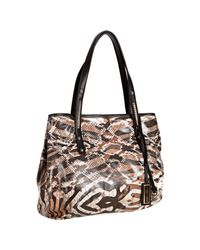 Jimmy Choo | Natural Exotic Print Coated Canvas Scarlet Medium Tote | Lyst