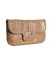 Jimmy Choo | Natural Nude Croc Embossed Leather Terri Chain Link Crossbody Bag | Lyst
