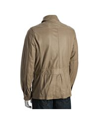 Theory | Natural Beige Leather Hopper Dawes Zip Jacket for Men | Lyst