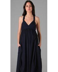 Adam Lippes - Blue Basket Weave Long Dress - Lyst