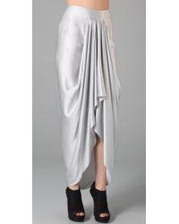 L.A.M.B. - White Draped Long Skirt - Lyst