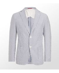 GANT | Blue Stripe Seersucker Blazer for Men | Lyst