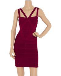 Hervé Léger - Red Cutout Bandage Dress - Lyst