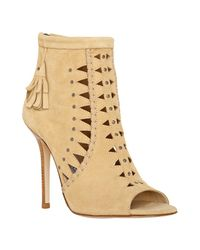 Jimmy Choo | Natural Champagne Suede Zen Cut-out Booties | Lyst