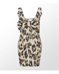 RED Valentino | Multicolor Leopard Print Bow Back Dress | Lyst