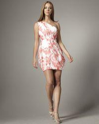Shoshanna   Pink One-shoulder Ikat Dress   Lyst