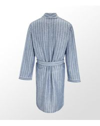 Zimmerli | Blue Stripe Linen Gown for Men | Lyst