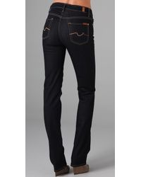 7 For All Mankind | Blue High Waist Straight Leg Jeans | Lyst