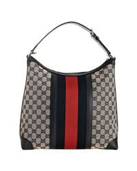 Gucci | Gray Beige and Navy Gg Canvas Logo Stripe Hobo Bag | Lyst