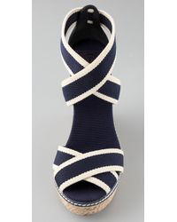Tory Burch | Blue Contrast Espadrille - Wedge Sandal in Navy | Lyst