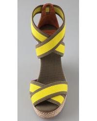 Tory Burch - Yellow Contrast Elastic Wedge Espadrilles - Lyst